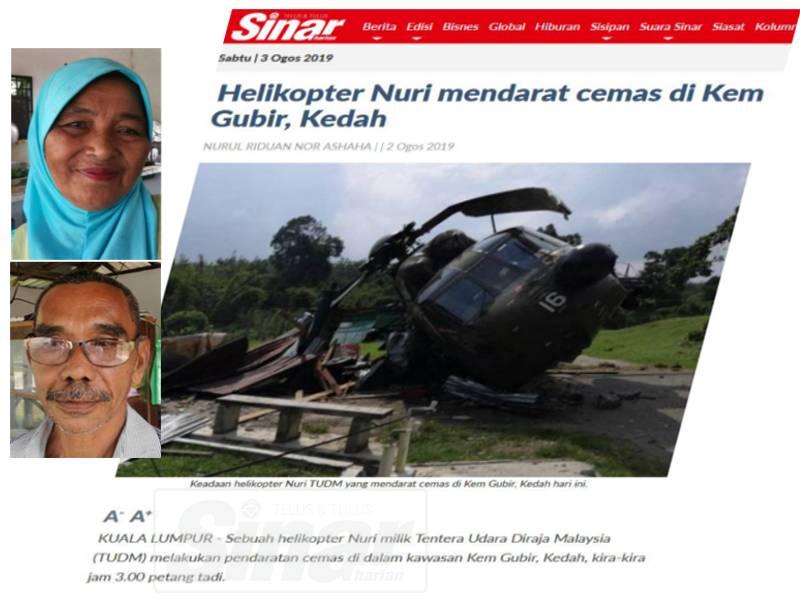 Laporan Sinar Harian tentang helikopter Nuri yang mendarat cemas, semalam. Gambar kecil:Ya Kassim (atas) dan Mohd Yusof Abidin.