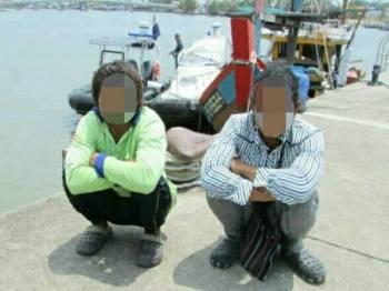 Dua warga Myanmar ditahan APMM Kuala Kurau kerana tiada dokumen perjalanan dan permit bekerja sah semalam.