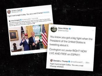 Trump menulis tweet kepada petarung UFC, Colby Covington 14 minit selepas menulis tweet berhubung insiden tembakan di El Paso.
