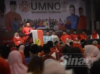 Ismail Sabri ketika merasmikan Mesyuarat Perwakilan Tahunan 2019, UMNO Bahagian Subang di Kinrara Resort di sini hari ini. - Foto Sinar Harian