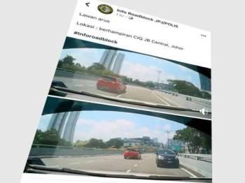 Aksi melawan arus kereta berkenaan dirakam dan tular di laman sosial.