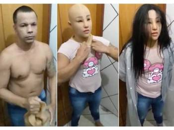 Silva memakai rambut palsu, topeng muka silikon, coli dan kemeja T ketat untuk menyamar sebagai anak perempuannya.