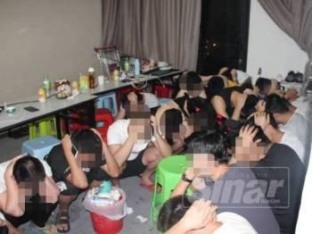 Antara warga China yang ditahan dalam serbuan di kediaman di sekitar ibu negara tengah malam tadi.