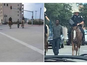 Gambar Neely diiringi dua anggota polis berkuda di Texas dikecam ramai. - Foto insideedition.com.