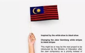 Tangkap layar tokoh perniagaan bergelar Tan Sri yang menukar warna bendera Malaysia kepada jalur hitam di laman Facebooknya mengundang reaksi negatif. - Foto sumber internet