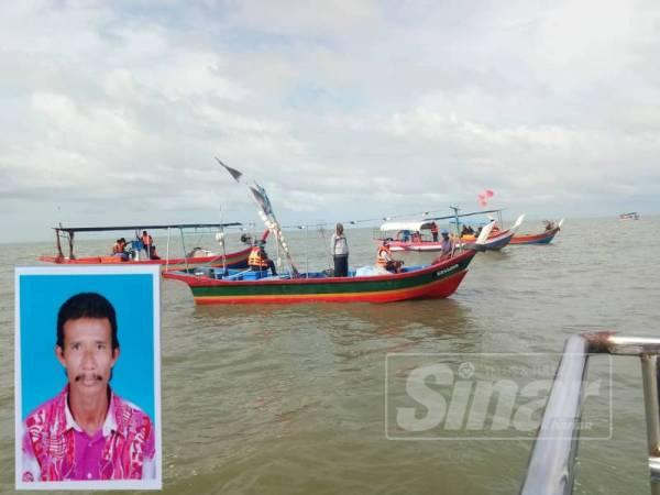Beberapa bot nelayan turut membantu dalam pencarian Azimat. Gambar kecil: Azimat Hasan