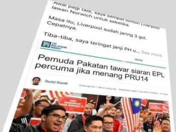 Status yang dimuat naik oleh Najib dalam Facebook beliau, pagi tadi.