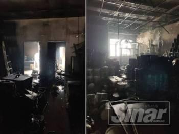 Keadaan bahagian dalam rumah kedai dua tingkat yang terlibat dalam kebakaran pagi tadi.