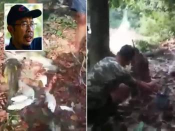 Hasil tangkapan yang diperolehi. Gambar kanan: Gambar yang menunjukkan aktiviti letupan dilakukan oleh beberapa individu di sungai di sebuah sungai dalam hutan. (Gambar kecil: Azahari)