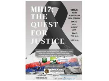 Bertemakan MH17: The Quest For Justice, persidangan itu dianjurkan secara bersama oleh International Movement for a Just World (JUST), Perdana Global Peace Foundation (PGPF) dan Centre for Research on Globalization (CRG).