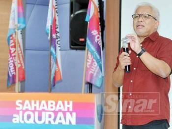 Pengasas Yayasan Warisan Ummah Ikhlas, Datuk Hussamuddin Yaacub menyampaikan ucapan ketika Sinergi Media Sempena Malaysia #QuranHour 2019. -Foto Sinar Harian ROSLI TALIB