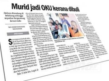 Laporan Sinar Harian berhubung kes buli murid tahun tiga di sebuah sekolah di Ayer Hitam, Jerlun hari ini.
