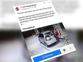 Gelagat lelaki mencuri pemadam api dirakam CCTV yang kemudiannya tular di Facebook.