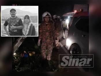 Bomba membantu mengeluarkan mangsa yang tersepit. (Gambar kecil, Che Azmi dan isterinya Nor Hayati Mohamed meninggal dunia dalam kemalangan awal pagi tadi.)