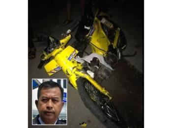 Keadaan motosikal ditunggang mangsa yang rosak teruk di lokasi kejadian. Gambar kecil: Abd Razak