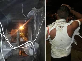 Keadaan pondok pengawal keselamatan yang dibaling dengan molotov cocktail. Gambar kanan: Seorang pengawal keselamatan cedera dalam insiden itu.