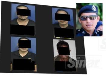 Empat suspek yang ditahan selepas menyamar sebagai polis dan memeras ugut warga asing.Gambar kecil: Mohd Iqbal Ibrahim