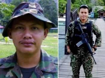 Koperal David Edmund Rapi (kiri) dan Lans Koperal Moses Logers dikesan hilang ketika bertugas di kawasan operasi Op Pejarak di Pulau Perak, Kedah pada 20 Julai lalu.