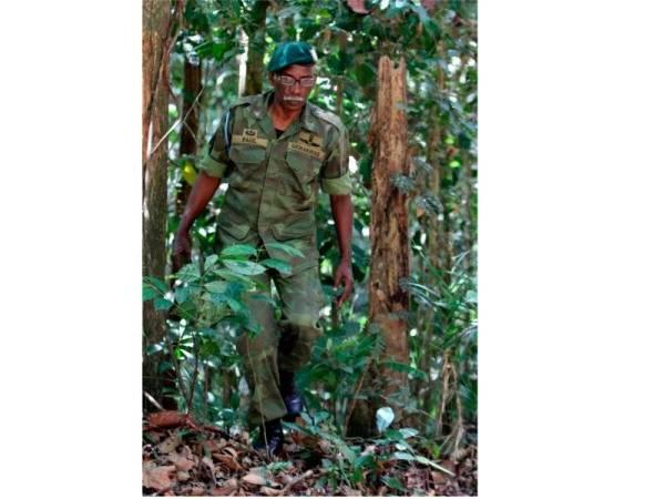 Bekas Komando Paul Karpaya, 67, bersemangat meredah hutan belantara mengimbau kenangannya dalam operasi yang tidak boleh dilupakan ketika menjejak dan berdepan dengan serangan komunis dalam Ops Selamat Sawadee di sempadan Perak dan Thailand hari ini. - Foto Bernama