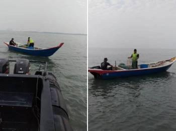 PPM Pelabuhan Klang mengesan kegiatan penggunaan pukat bubu naga dipercayai dilakukan nelayan warga asing di Perairan Laut Sekinchan, Sekinchan, semalam.