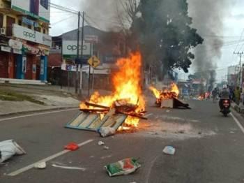 Situasi di Jalan Jenderal Yosudarso Manokwari, Papua Barat hari ini. - Foto Ishak