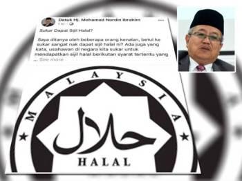 Kenyataan berkaitan sijil halal yang dikongsikan Mohamad Nordin dalam Facebooknya. Gambar kecil: Mohamad Nordin