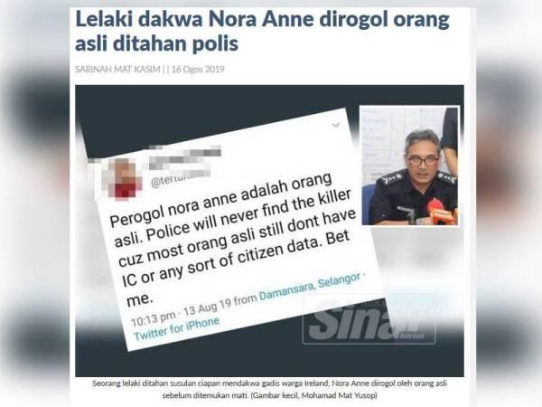 Paparan skrin laporan Sinar Harian berkaitan kes tersebut.