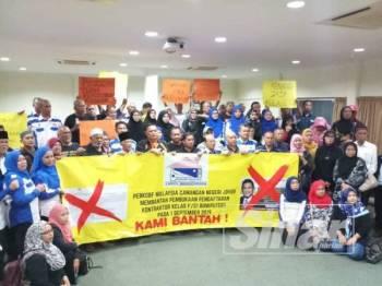 PERKOBF Johor membuat bantahan terhadap pengumuman kerajaan baru-baru ini.