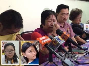 Bapa dan nenek Yi Xian menangis, merayu pelajar tingkatan tiga itu pulang ke pangkuan keluarga. Gambar kecil: Chan Jiah Huih dan Chan Yi Xian