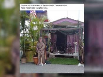 Gambar patung Jepun di pekarangan Wisma Majlis Daerah Kerian (MDK) sengaja ditularkan.