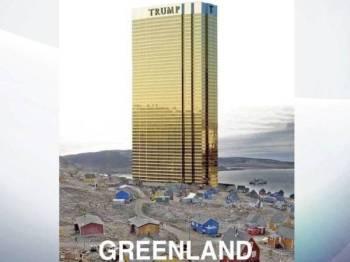 Gambar Trump Tower yang dibina di kawasan perkampungan kecil di pulau terbesar di dunia itu dikongsi Presiden AS terbabit menerusi Twitter.
