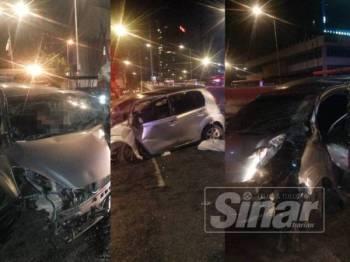 Keadaan kereta Perodua Myvi yang terbabas di depan Balai Bomba dan Penyelamat Sentul pagi tadi.