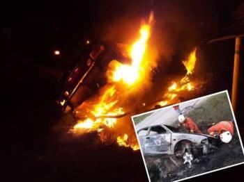 Kereta yang terbakar di Jalan Temerloh-Jerantut dekat Kampung Paya Keladan di sini awal pagi tadi. (Gambar kecil, anggota bomba melakukan pemeriksaan terhadap kereta yang terbakar awal pagi tadi.)