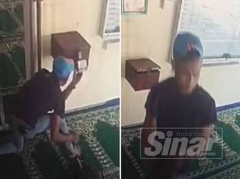 Lelaki bertopi biru yang disyaki melarikan wang tabung Masjid al.Ikhsan Tebong, Sabtu lalu.