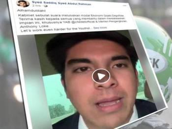 Syed Saddiq melalui video dimuat naik di Facebook memberi respons berkaitan GoJek.