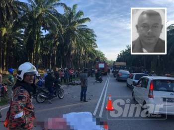 Kemalangan maut membabitkan enam kenderaan di Jalan Bagan-Padang Serai pagi tadi. Gambar kecil, Mohd Taher.