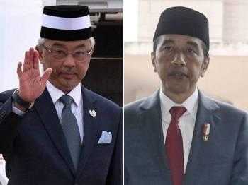 Yang di-Pertuan Agong Al-Sultan Abdullah Ri'ayatuddin Al-Mustafa Billah Shah dan Presiden Indonesia, Joko Widodo.