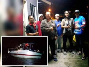 Enam mangsa bot persendirian yang diselamatkan APMM Zon Kuala Kedah. (Gambar kecil, Bot persendirian dinaiki enam lelaki yang rosak ditengah laut.)