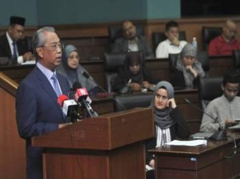 Muhyiddin semasa berucap pada  Seminar Antarabangsa Mengenai Nilai Keagamaan Dalam Mencegah dan Mengawal Ekstremisme Ganas (PCVE) di Universiti Islam Antarabangsa di sini hari ini. Foto Bernama
