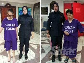 Tertuduh, Fairuz Mazidah mengaku tidak bersalah memiliki wang curi sebanyak RM2,500 di Mahkamah Majistret Kuala Terengganu hari ini. (Kanan: Tertuduh, Salina mengaku tidak bersalah memiliki wang curi sebanyak RM6,000 di Mahkamah Majistret Kuala Terengganu hari ini.)