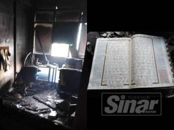 Keadaan ruang pejabat selepas kejadian kebakaran.
