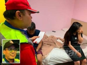 Pasangan kekasih ditangkap bersekedudukan di dalam bilik sebuah hotel di Johor Bahru semalam. Gambar kecil: Halid