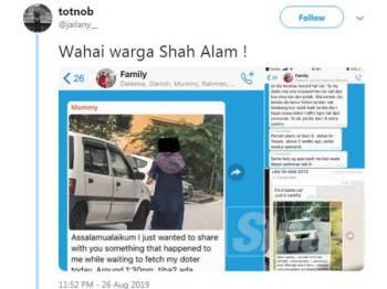 Tangkap layar ciapan yang tular di media sosial berhubung insiden melibatkan wanita terbabit.