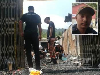 Pihak Bomba sedang menjalankan excavation (penggalian). (Gambar kecil, Mohd Saharul Nizam)
