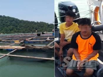 Sangkar ikan yang terletak lebih kurang 0.3 batu nautika dari Timur Pulau Jerejak. (Kanan: Dua pekerja sangkar ikan warga Thailand yang ditahan APMM.)