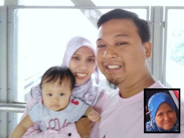 Gambar kenangan Mohd Aziz bersama anak tunggal dan Allahyarham isterinya, Farah Ain Salim. (Gambar kecil: Allahyarham Fuziyah Sarjuni)