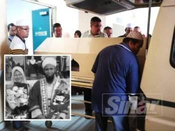 Kedua-dua jenazah dikebumikan di Kampung Banggol Kiat Sik selepas Zohor hari ini. (Gambar kecil, Jamaluddin dan Rapidah maut digilis lori dalam kemalangan di Kilometer 99.3 Lebuhraya Utara Selatan semalam.)