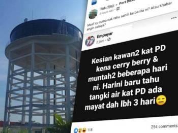 Keratan Facebook yang menyebarkan berita tersebut.
