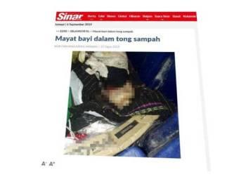 Mayat bayi yang ditemui dalam tong sampah di sebuah pangsapuri di Taman Bukit Serdang 27 Ogos lalu