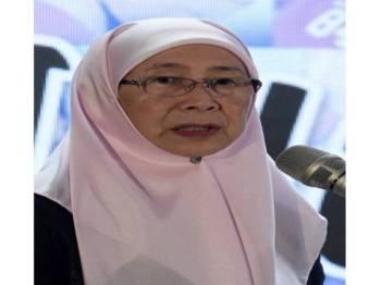 """Timbalan Perdana Menteri Datuk Seri Dr Wan Azizah Wan Ismail berucap pada perasmian Jalinan Kasih """"40 Tahun Merealisasikan Impian"""